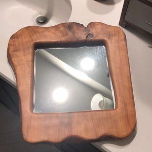Handmade wood framed mirror (live edge)